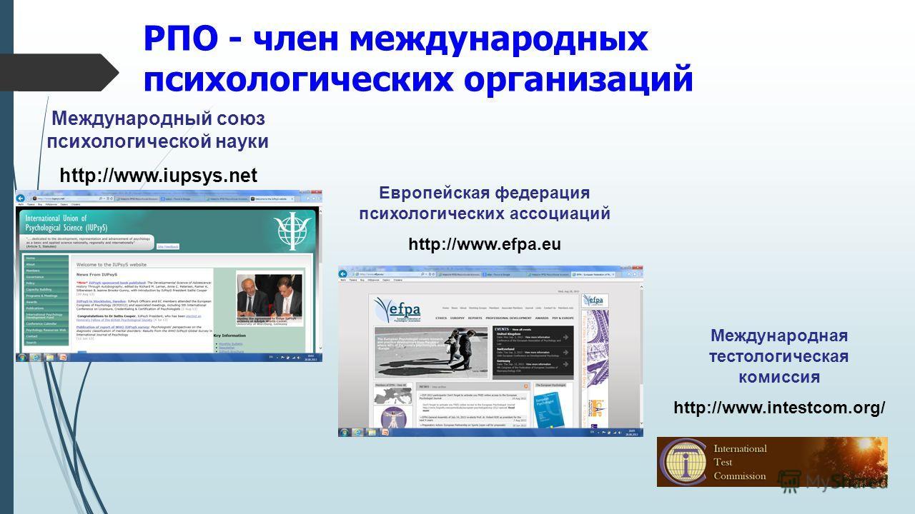 РПО - член международных психологических организаций Международный союз психологической науки http://www.iupsys.net Европейская федерация психологических ассоциаций http://www.efpa.eu Международная тестологическая комиссия http://www.intestcom.org/