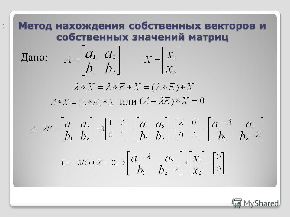 Метод нахождения собственных векторов и собственных значений матриц Дано: или ;