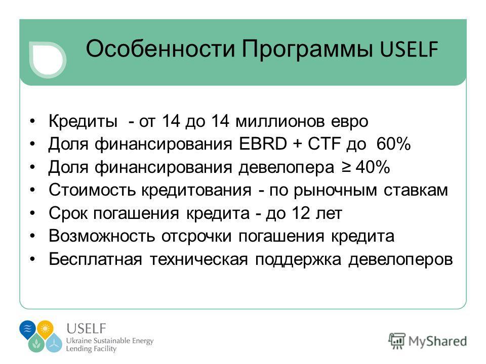 Особенности Программы USELF Кредиты - от 14 до 14 миллионов евро Доля финансирования EBRD + СTF до 60% Доля финансирования девелопера 40% Стоимость кредитования - по рыночным ставкам Срок погашения кредита - до 12 лет Возможность отсрочки погашения к