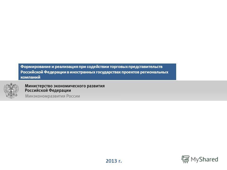 2013 г. Формирование и реализация при содействии торговых представительств Российской Федерации в иностранных государствах проектов региональных компаний