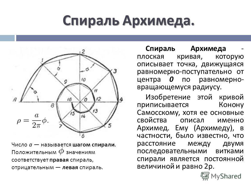 Спираль Архимеда. Спираль Архимеда - плоская кривая, которую описывает точка, движущаяся равномерно - поступательно от центра 0 по равномерно - вращающемуся радиусу. Изобретение этой кривой приписывается Конону Самосскому, хотя ее основные свойства о