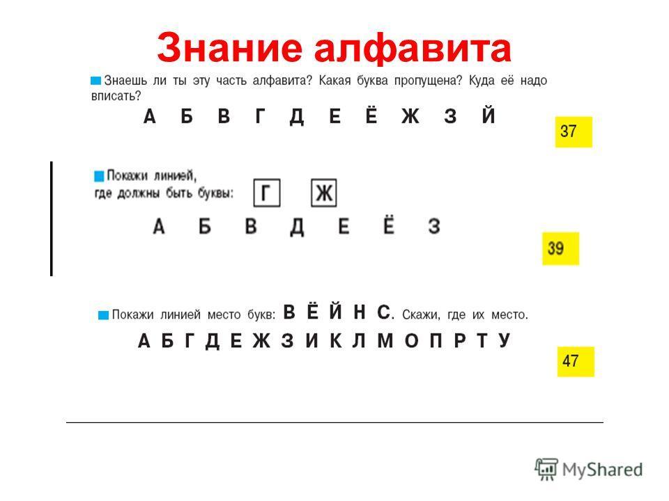 Знание алфавита