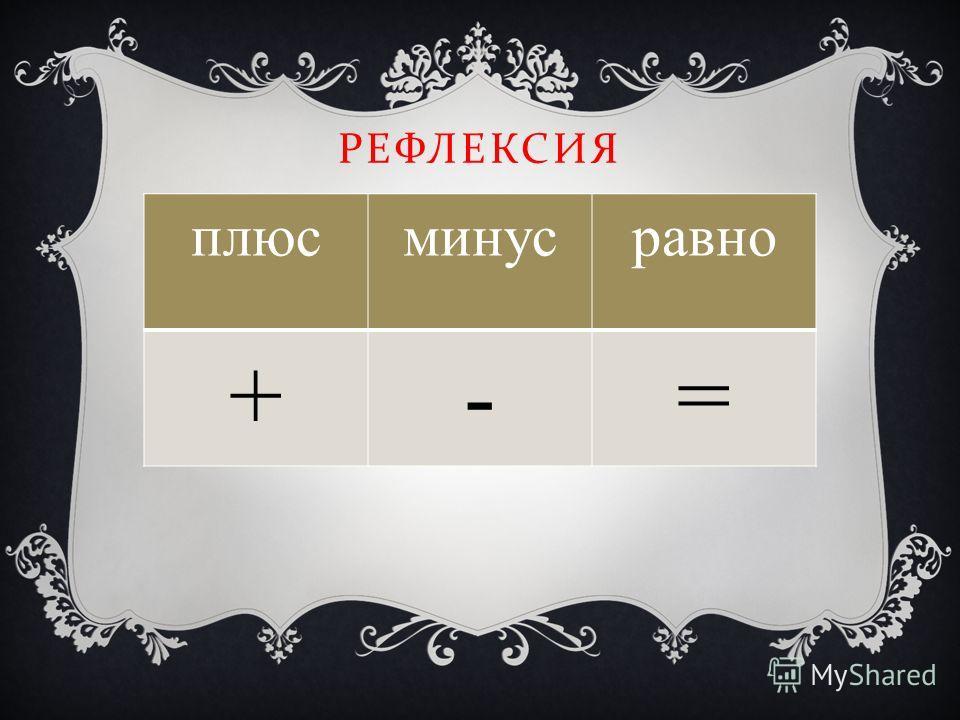 РЕФЛЕКСИЯ плюсминусравно +-=