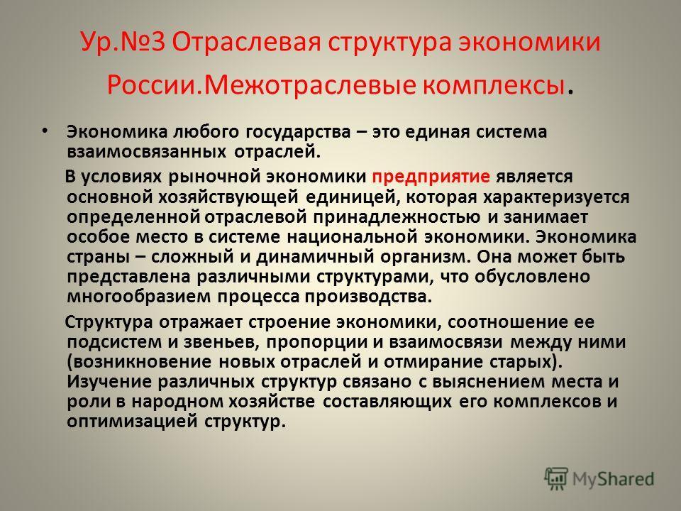 Ур.3 Отраслевая структура экономики России.Межотраслевые комплексы. Экономика любого государства – это единая система взаимосвязанных отраслей. В условиях рыночной экономики предприятие является основной хозяйствующей единицей, которая характеризуетс