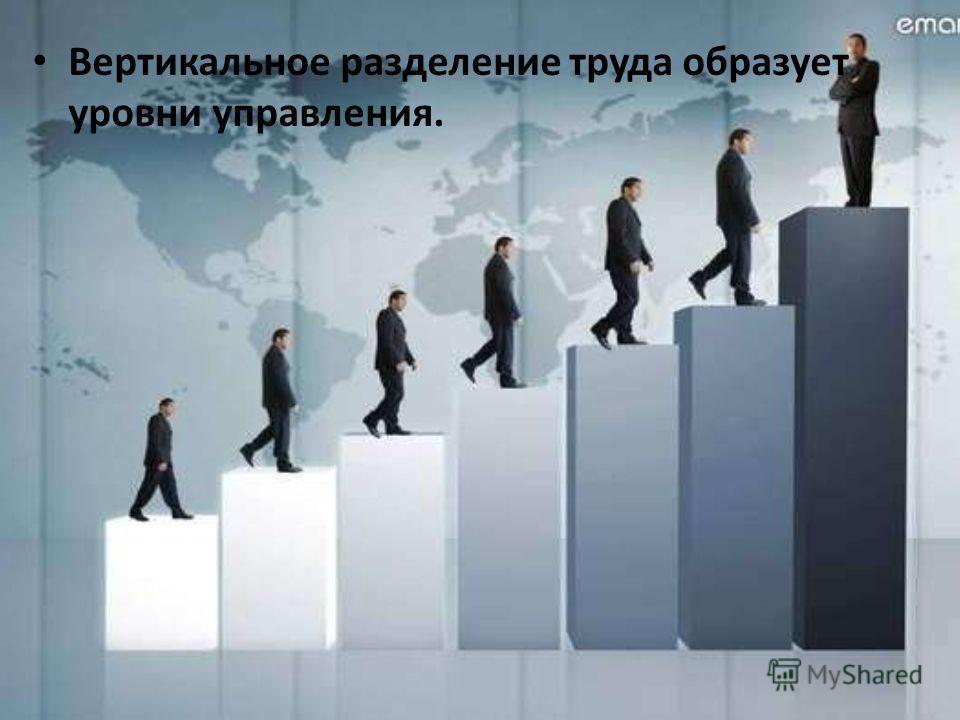 Вертикальное разделение труда образует уровни управления.