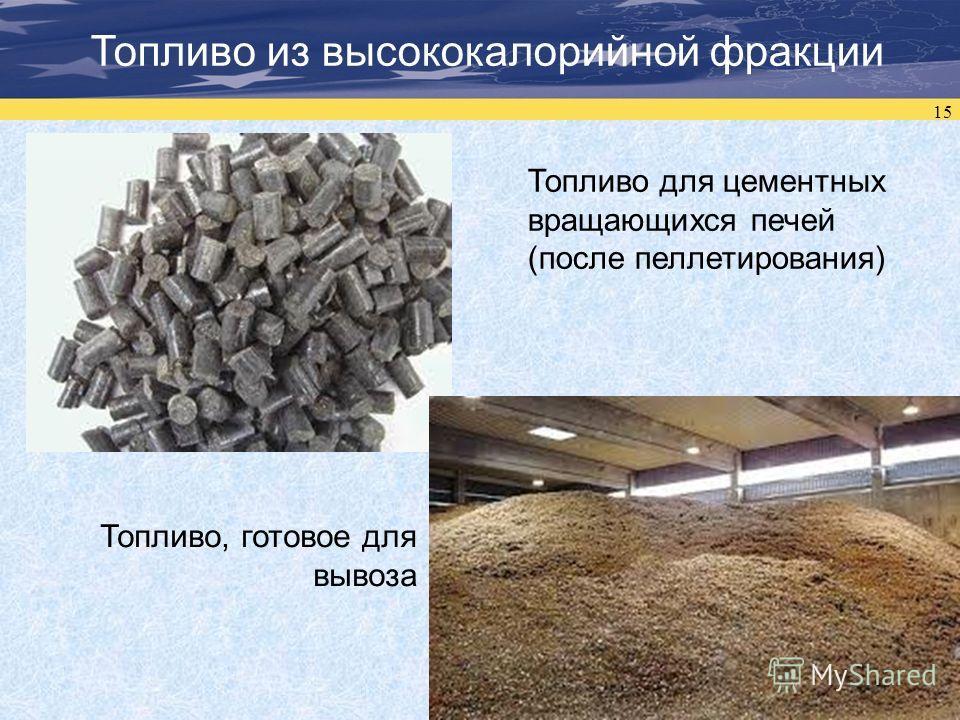 15 Топливо из высококалорийной фракции Топливо для цементных вращающихся печей (после пеллетирования) Топливо, готовое для вывоза