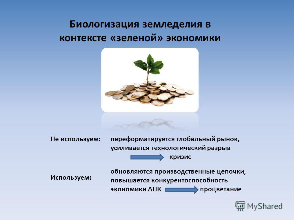Биологизация земледелия в контексте «зеленой» экономики Не используем:переформатируется глобальный рынок, усиливается технологический разрыв кризис Используем: обновляются производственные цепочки, повышается конкурентоспособность экономики АПК процв