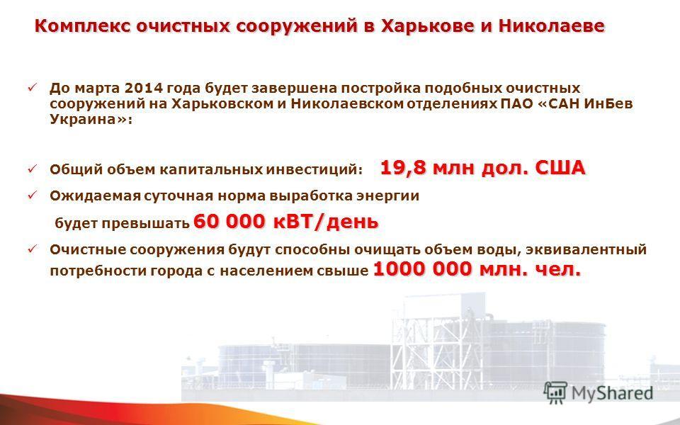 До марта 2014 года будет завершена постройка подобных очистных сооружений на Харьковском и Николаевском отделениях ПАО «САН ИнБев Украина»: 19,8 млн дол. США Общий объем капитальных инвестиций: 19,8 млн дол. США Ожидаемая суточная норма выработка эне