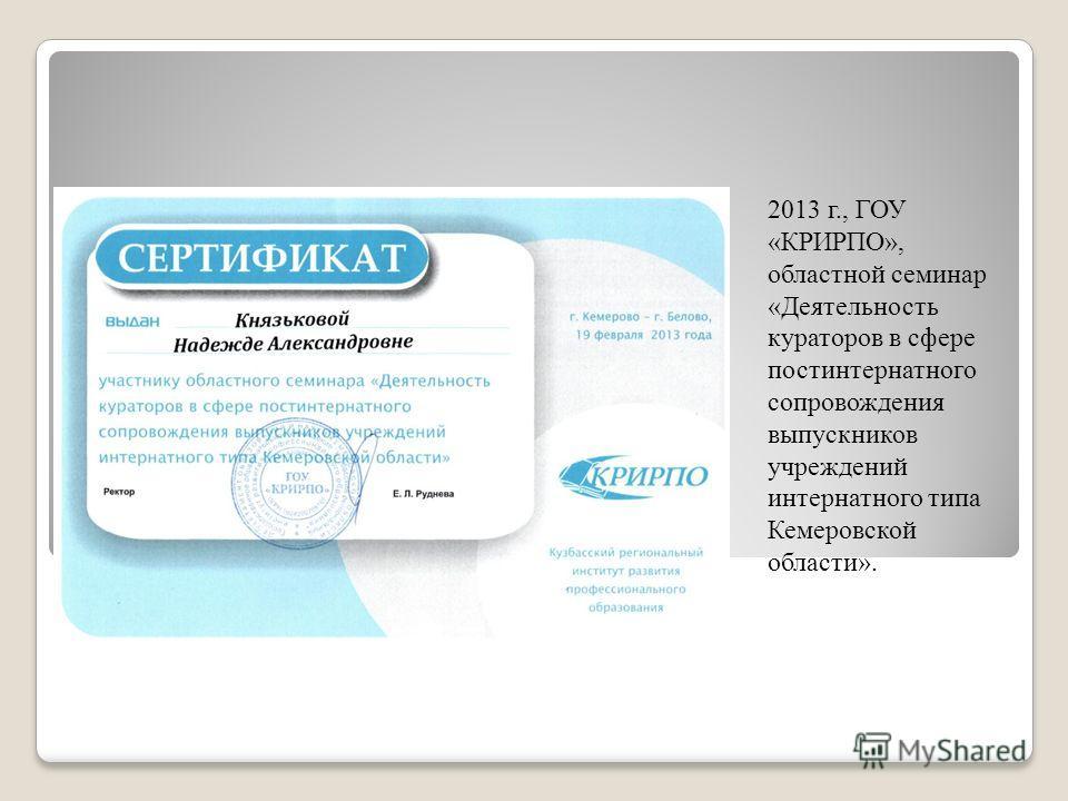 2013 г., ГОУ «КРИРПО», областной семинар «Деятельность кураторов в сфере постинтернатного сопровождения выпускников учреждений интернатного типа Кемеровской области».