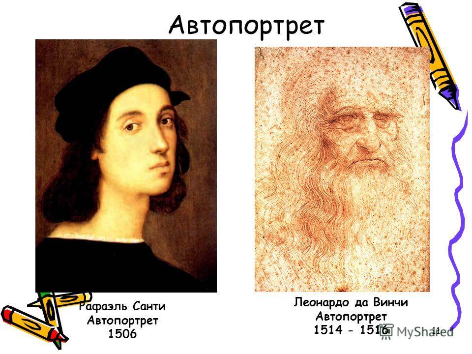 11 Автопортрет Рафаэль Санти Автопортрет 1506 Леонардо да Винчи Автопортрет 1514 - 1516