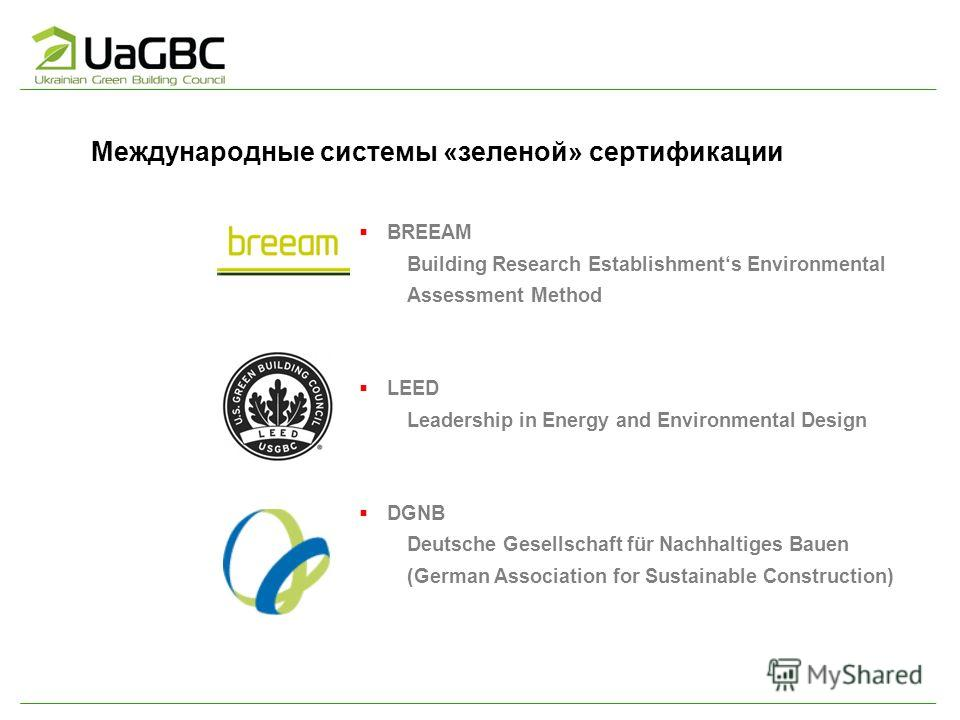 Международные системы «зеленой» сертификации BREEAM Building Research Establishments Environmental Assessment Method LEED Leadership in Energy and Environmental Design DGNB Deutsche Gesellschaft für Nachhaltiges Bauen (German Association for Sustaina