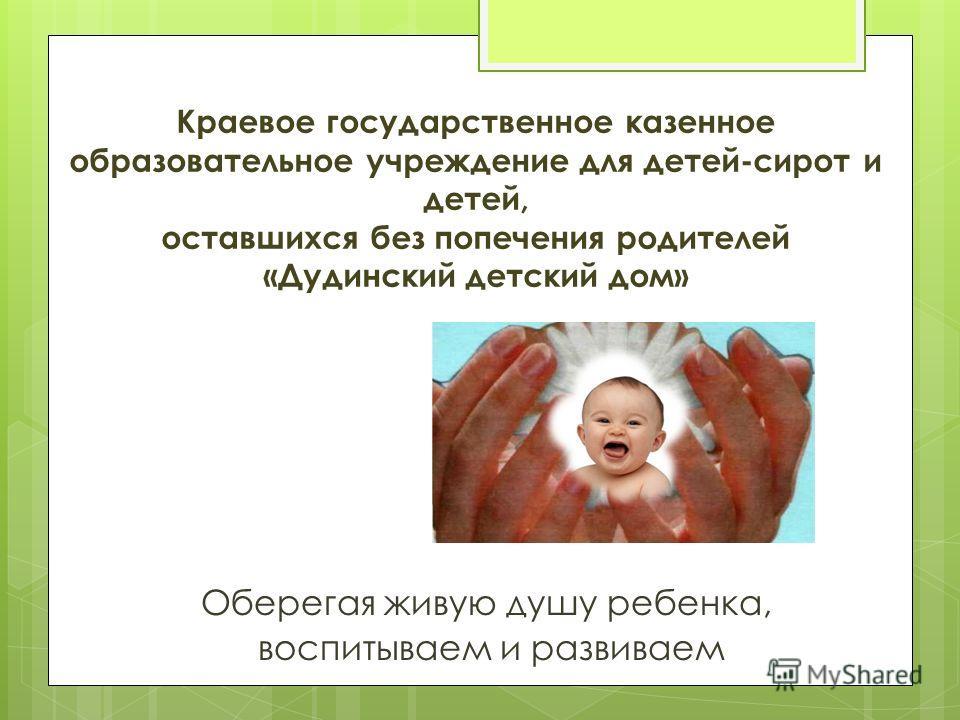 Краевое государственное казенное образовательное учреждение для детей-сирот и детей, оставшихся без попечения родителей «Дудинский детский дом» Оберегая живую душу ребенка, воспитываем и развиваем