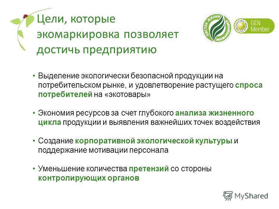 Цели, которые экомаркировка позволяет достичь предприятию Выделение экологически безопасной продукции на потребительском рынке, и удовлетворение растущего спроса потребителей на «экотовары» Экономия ресурсов за счет глубокого анализа жизненного цикла