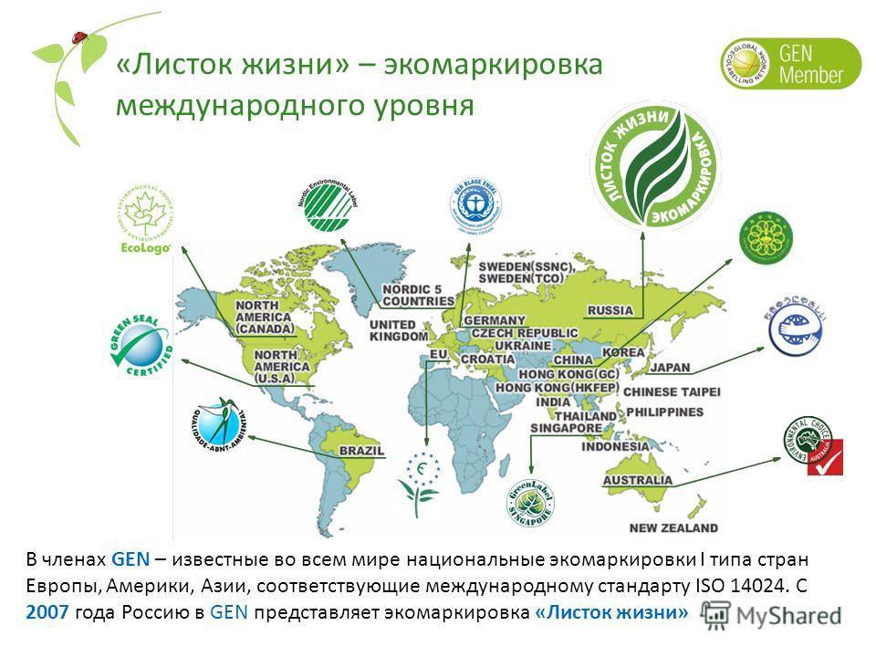 «Листок жизни» – экомаркировка международного уровня В членах GEN – известные во всем мире национальные экомаркировки I типа стран Европы, Америки, Азии, соответствующие международному стандарту ISO 14024. С 2007 года Россию в GEN представляет экомар