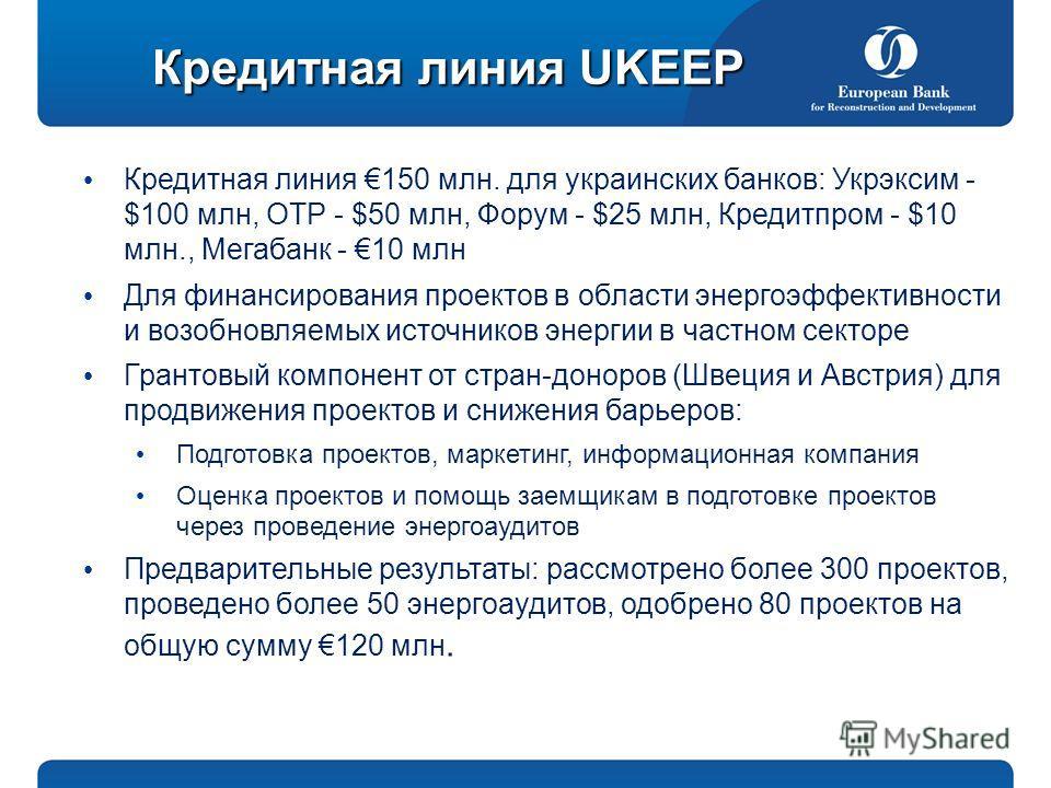 Кредитная линия 150 млн. для украинских банков: Укрэксим - $100 млн, ОТР - $50 млн, Форум - $25 млн, Кредитпром - $10 млн., Мегабанк - 10 млн Для финансирования проектов в области энергоэффективности и возобновляемых источников энергии в частном сект