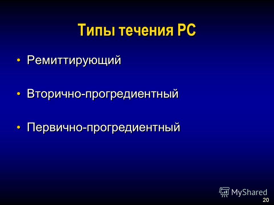 20 Типы течения РС Ремиттирующий Вторично-прогредиентный Первично-прогредиентный Ремиттирующий Вторично-прогредиентный Первично-прогредиентный