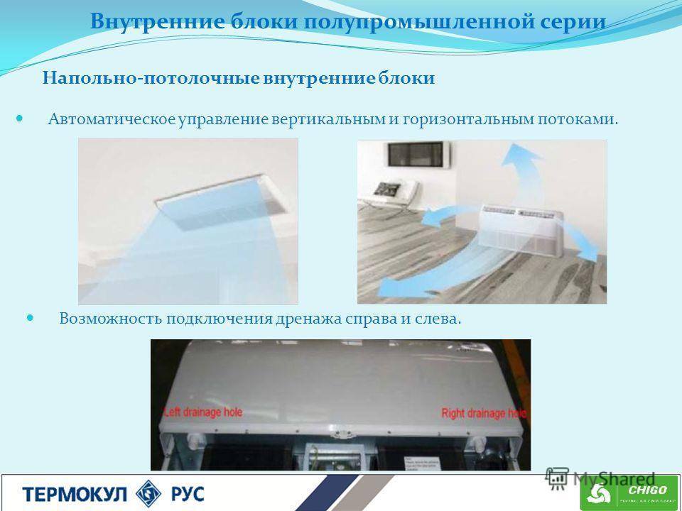 Автоматическое управление вертикальным и горизонтальным потоками. Возможность подключения дренажа справа и слева. Напольно-потолочные внутренние блоки Внутренние блоки полупромышленной серии