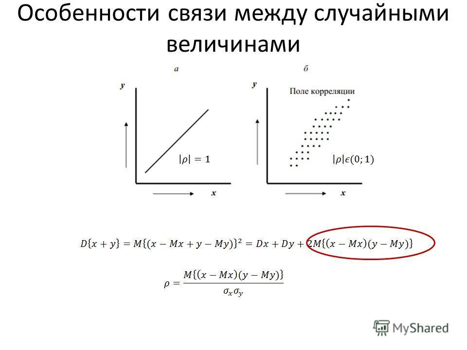 Особенности связи между случайными величинами