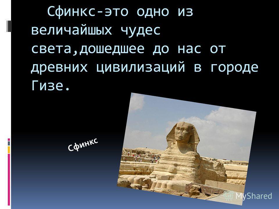 Сфинкс-это одно из величайшых чудес света,дошедшее до нас от древних цивилизаций в городе Гизе. Сфинкс