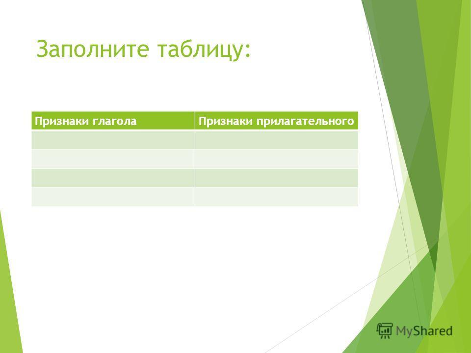 Заполните таблицу: Признаки глаголаПризнаки прилагательного