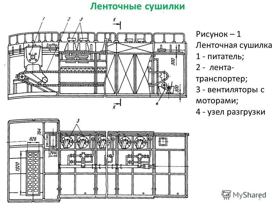 Ленточные сушилки 3 Рисунок – 1 Ленточная сушилка 1 - питатель; 2 - лента- транспортер; 3 - вентиляторы с моторами; 4 - узел разгрузки