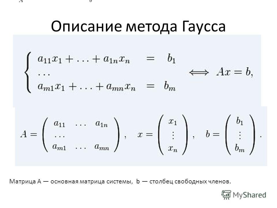Описание метода Гаусса Матрица А основная матрица системы, b столбец свободных членов.