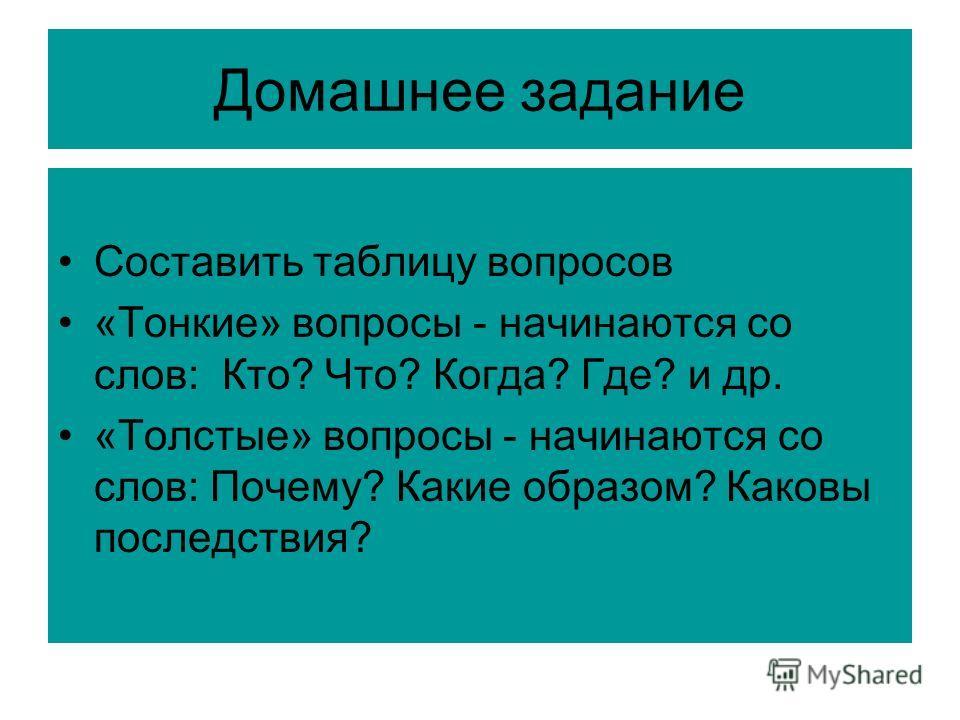 Домашнее задание Составить таблицу вопросов «Тонкие» вопросы - начинаются со слов: Кто? Что? Когда? Где? и др. «Толстые» вопросы - начинаются со слов: Почему? Какие образом? Каковы последствия?