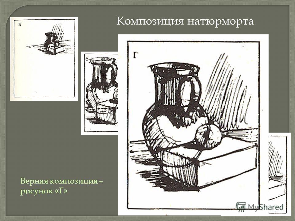Композиция натюрморта Верная композиция – рисунок «Г»