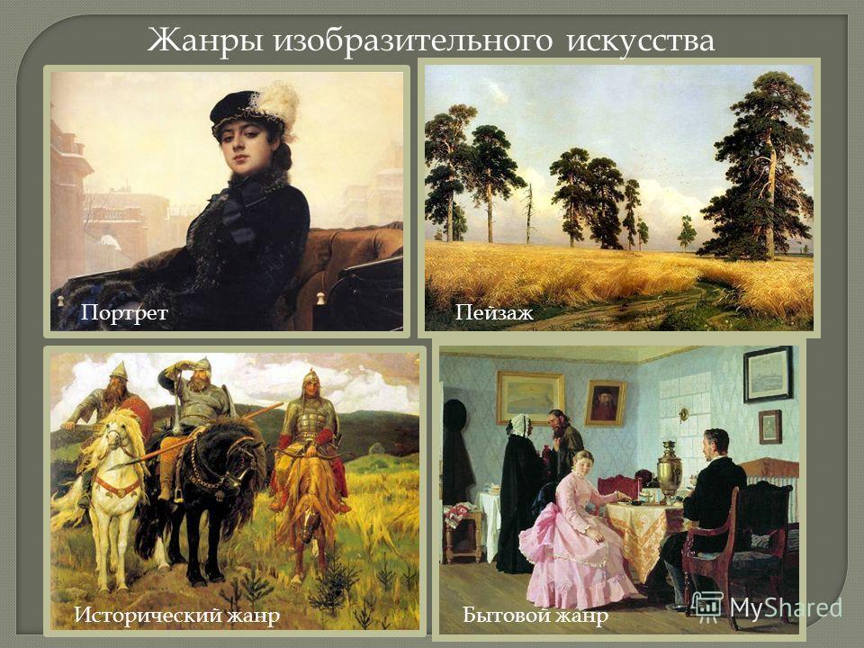 Жанры изобразительного искусства ПортретПейзаж Исторический жанрБытовой жанр