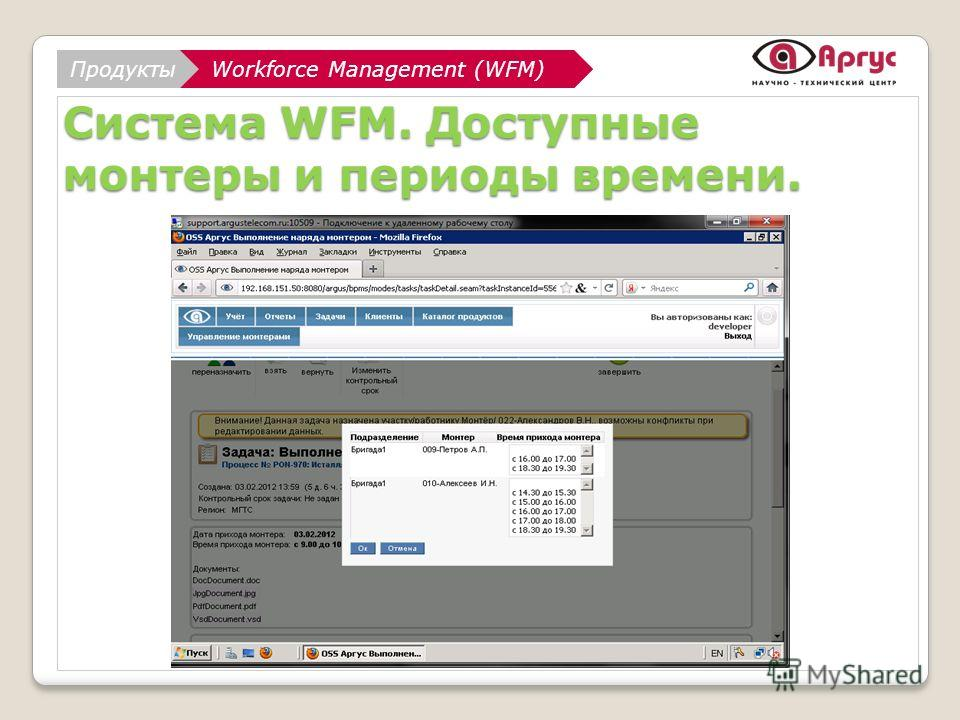АналитикаWorkforce Management (WFM) НТЦ АРГУС Workforce Management (WFM)Продукты Система WFM. Доступные монтеры и периоды времени.