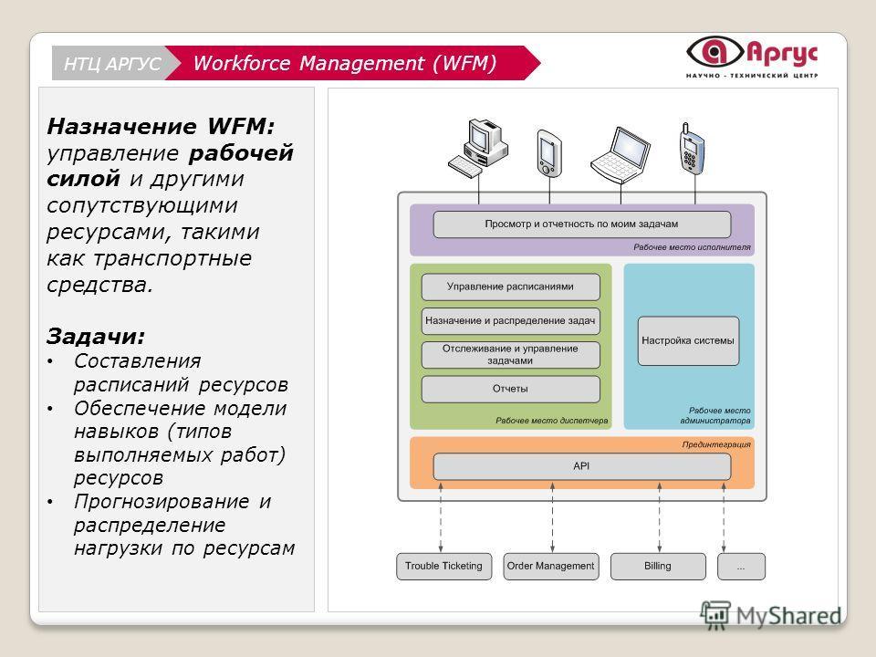 АналитикаWorkforce Management (WFM) НТЦ АРГУС Аналитика Назначение WFM: управление рабочей силой и другими сопутствующими ресурсами, такими как транспортные средства. Задачи: Составления расписаний ресурсов Обеспечение модели навыков (типов выполняем