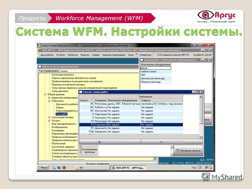 АналитикаWorkforce Management (WFM) НТЦ АРГУС Workforce Management (WFM)Продукты Система WFM. Настройки системы.