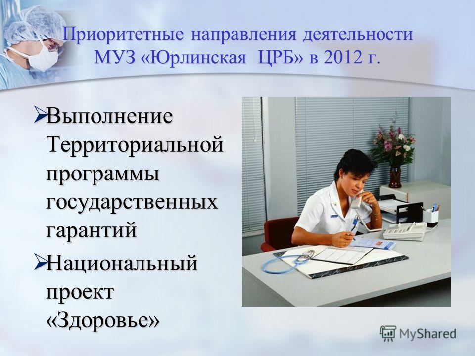 Приоритетные направления деятельности МУЗ «Юрлинская ЦРБ» в 2012 г. Выполнение Территориальной программы государственных гарантий Национальный проект «Здоровье»
