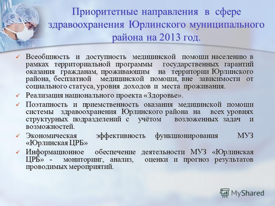 Приоритетные направления в сфере здравоохранения Юрлинского муниципального района на 2013 год. Всеобщность и доступность медицинской помощи населению в рамках территориальной программы государственных гарантий оказания гражданам, проживающим на терри
