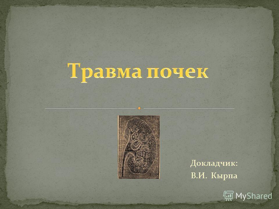 Докладчик: В.И. Кырпа