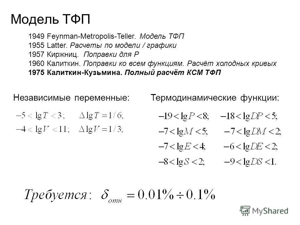 Модель ТФП Независимые переменные:Термодинамические функции: 1949 Feynman-Metropolis-Teller. Модель ТФП 1955 Latter. Расчеты по модели / графики 1957 Киржниц. Поправки для P 1960 Калиткин. Поправки ко всем функциям. Расчёт холодных кривых 1975 Калитк