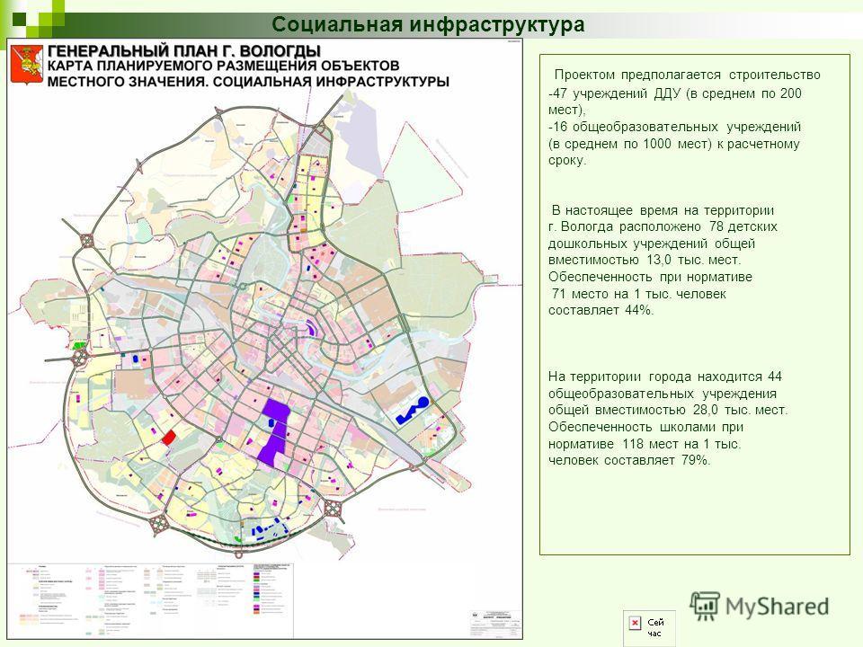 Социальная инфраструктура Проектом предполагается строительство -47 учреждений ДДУ (в среднем по 200 мест), -16 общеобразовательных учреждений (в среднем по 1000 мест) к расчетному сроку. В настоящее время на территории г. Вологда расположено 78 детс