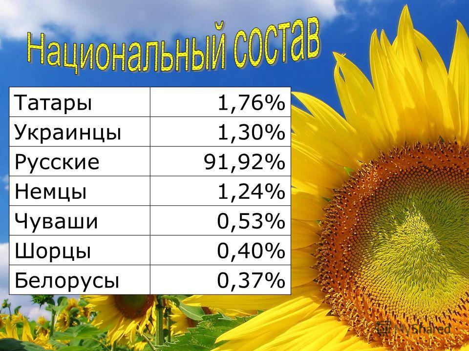 Татары1,76% Украинцы1,30% Русские91,92% Немцы1,24% Чуваши0,53% Шорцы0,40% Белорусы0,37%