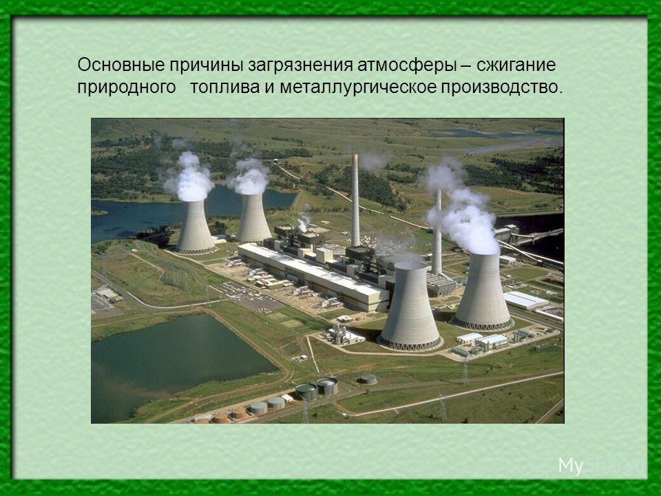 Основные причины загрязнения атмосферы – сжигание природного топлива и металлургическое производство.