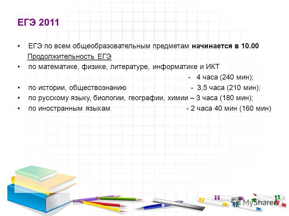 ЕГЭ 2011 ЕГЭ по всем общеобразовательным предметам начинается в 10.00 Продолжительность ЕГЭ по математике, физике, литературе, информатике и ИКТ - 4 часа (240 мин); по истории, обществознанию - 3,5 часа (210 мин); по русскому языку, биологии, географ