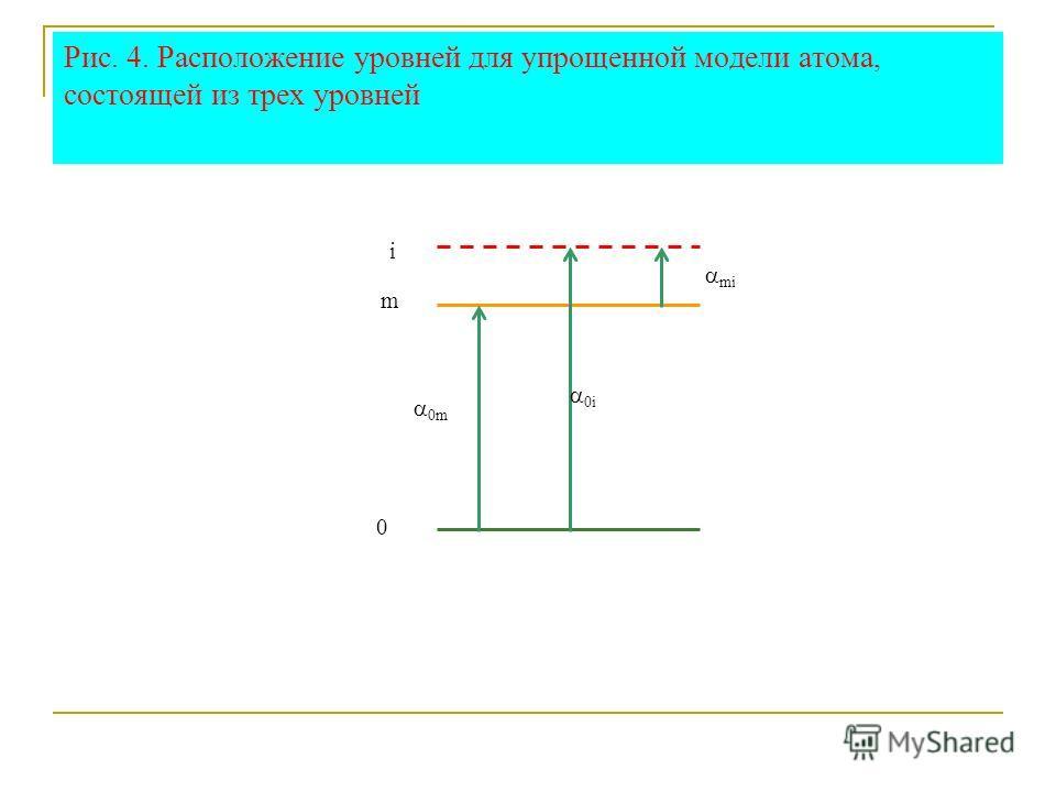 Рис. 4. Расположение уровней для упрощенной модели атома, состоящей из трех уровней i m 0 0m 0i mi