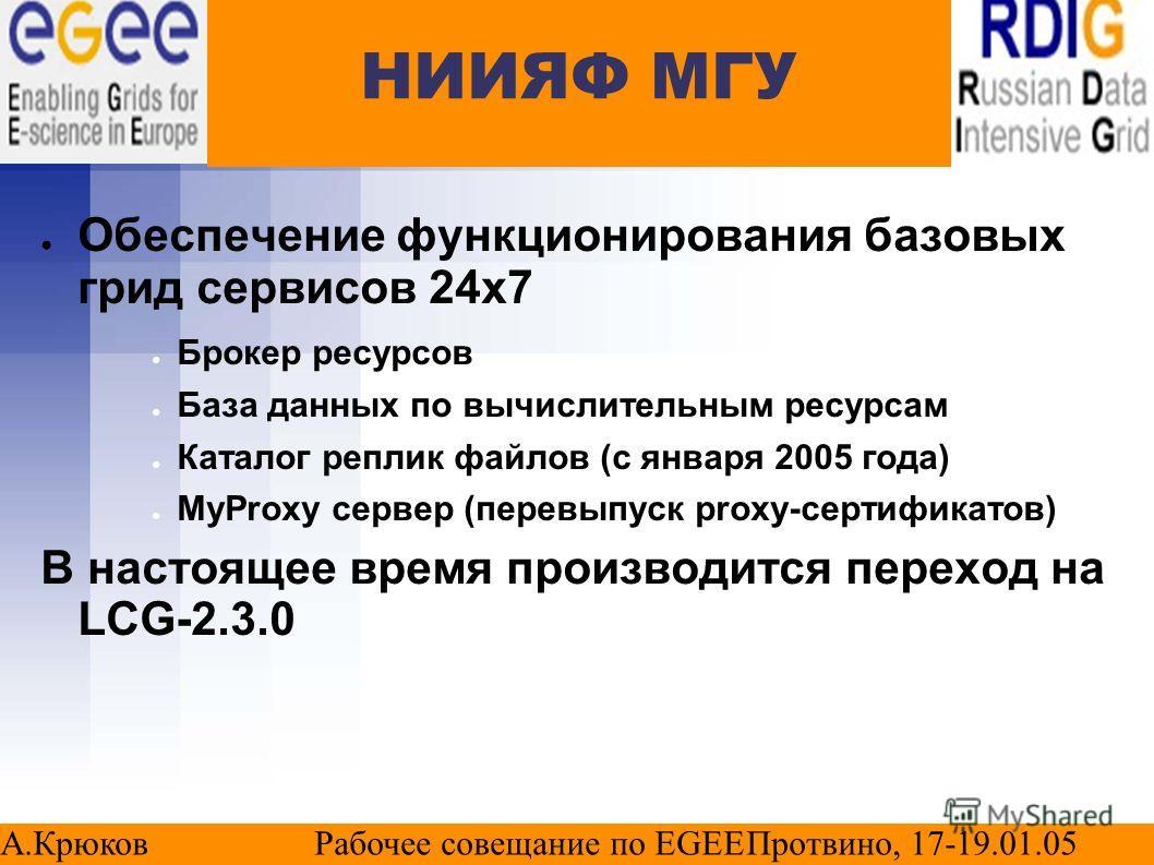НИИЯФ МГУ Обеспечение функционирования базовых грид сервисов 24х7 Брокер ресурсов База данных по вычислительным ресурсам Каталог реплик файлов (с января 2005 года) MyProxy сервер (перевыпуск proxy-сертификатов) В настоящее время производится переход