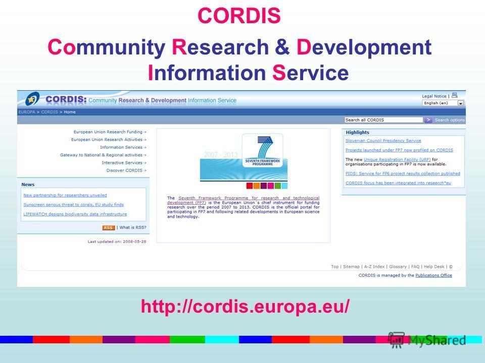 CORDIS Community Research & Development Information Service http://cordis.europa.eu/
