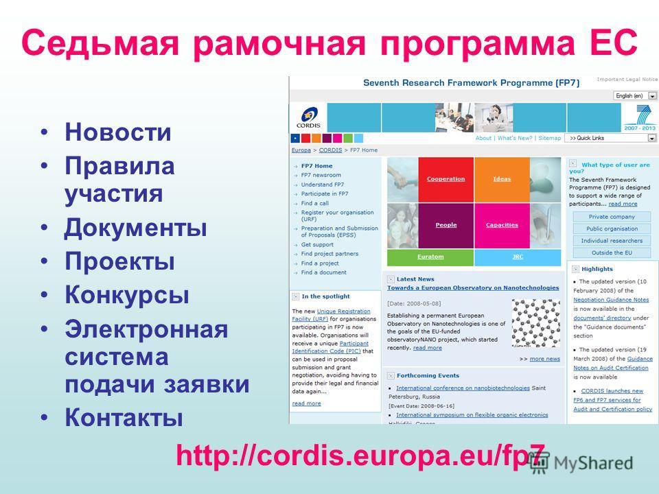 Седьмая рамочная программа ЕС Новости Правила участия Документы Проекты Конкурсы Электронная система подачи заявки Контакты http://cordis.europa.eu/fp7