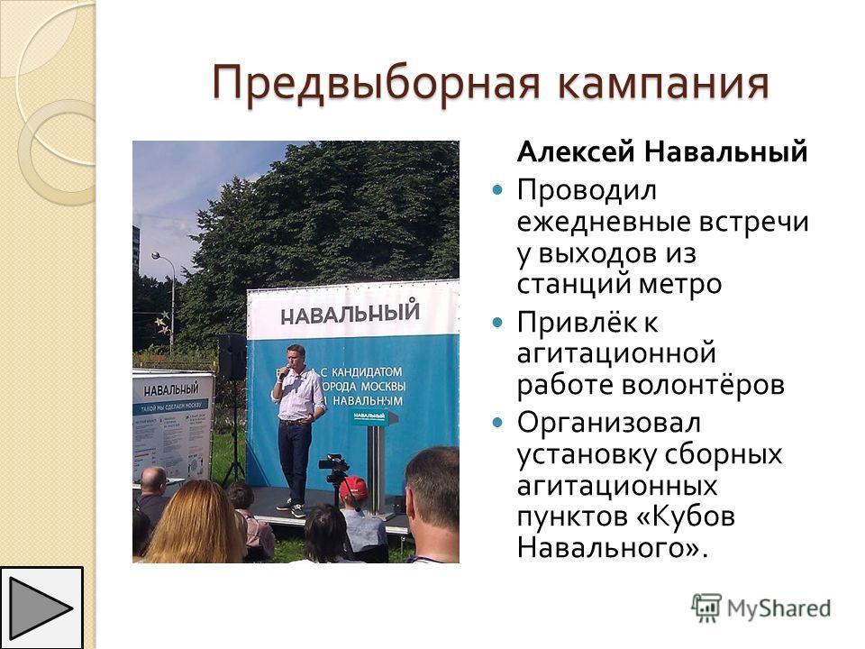 Предвыборная кампания Алексей Навальный Проводил ежедневные встречи у выходов из станций метро Привлёк к агитационной работе волонтёров Организовал установку сборных агитационных пунктов « Кубов Навального ».