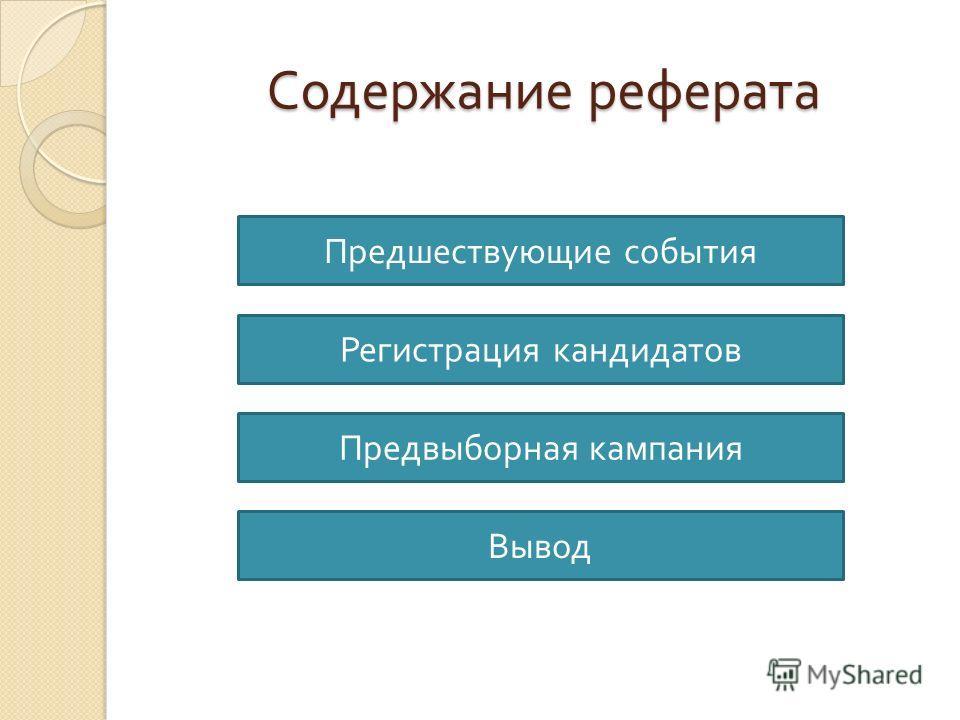Содержание реферата Предшествующие события Регистрация кандидатов Предвыборная кампания Вывод