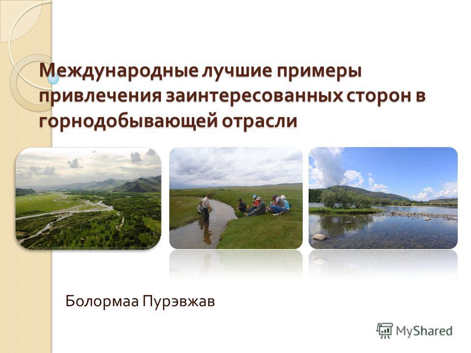 Международные лучшие примеры привлечения заинтересованных сторон в горнодобывающей отрасли Болормаа Пурэвжав
