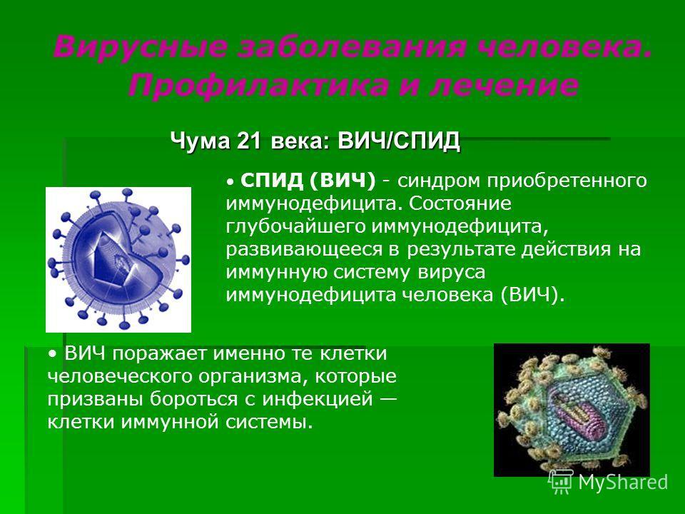 Чума 21 века: ВИЧ/СПИД Вирусные заболевания человека. Профилактика и лечение СПИД (ВИЧ) - синдром приобретенного иммунодефицита. Состояние глубочайшего иммунодефицита, развивающееся в результате действия на иммунную систему вируса иммунодефицита чело