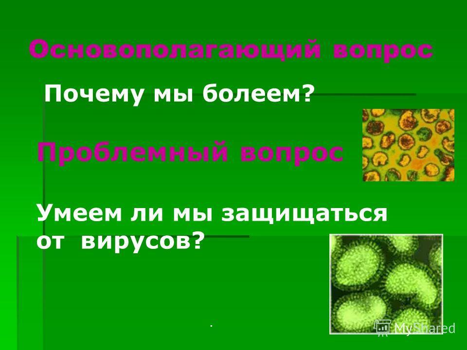Основополагающий вопрос. Почему мы болеем? Проблемный вопрос Умеем ли мы защищаться от вирусов?