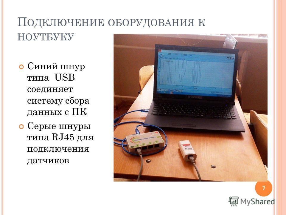 П ОДКЛЮЧЕНИЕ ОБОРУДОВАНИЯ К НОУТБУКУ Синий шнур типа USB соединяет систему сбора данных с ПК Серые шнуры типа RJ45 для подключения датчиков 7